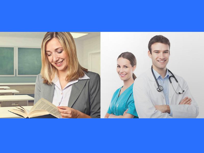 foto di medico, infermiera e insegnante